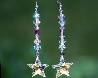 Swarovski AB star earrings, swarovski earrings, sterling earring, silver star earrings, magenta earrings, sparkly earrings, crystal earrings