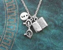 Book Necklace Open Book Jewelry Reading Gift Teacher Gift Teacher Necklace Librarian Gift for Writer Jewelry Silver Reading Glasses Necklace