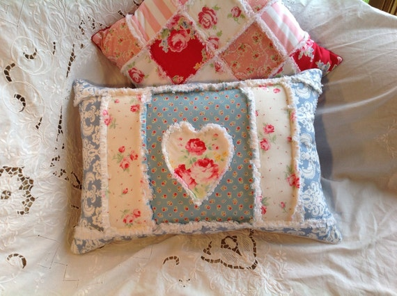 Large Shabby Rectangular Throw Pillow Heart by TwostitchHill