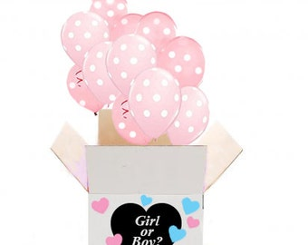Gender Reveal Balloons in a Box for a Gender Reveal Party. Gender Announcement and Gender Reveal Balloon Release
