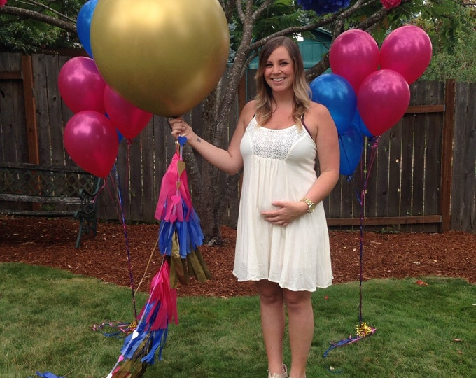 GOLD Gender Reveal Balloon!!! | Reveal Party Balloon Pop | Giant balloon with tassels complete with both pink and blue confetti