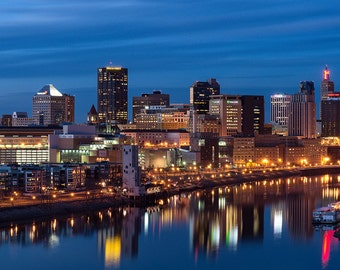 Saint Paul Skyline, St. Paul, Minnesota, Mississippi River, Panorama, Twin Cities, Reflection, Night - Travel Photography, Print, Wall Art