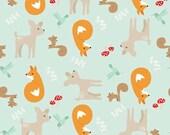 Woodland Baby Quilt Fabric, Riley Blake C4080 Mint, Good Natured, Marin Sutton, Fox, Squirrel, Hummingbird, Fawn Fabric, Cotton Quilt Fabric