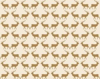 Metallic Gold Reindeer Fabric, Riley Blake Postcards For Santa, SC4753 Gold Deer Fabric, My Mind's Eye, Cotton Metallic Christmas Fabric