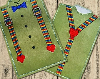 ITH Bow Tie and Suspenders Gift Card Holder Embroidery Design