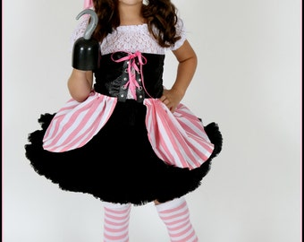 Pirate Costume Pink and black,  lace blouse, corset petti or tutu