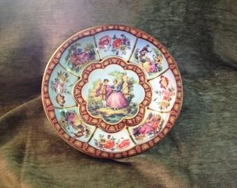 Daher Tin Bowl, Decorated Tin Bowl, Daher Tin Dish 1971, Made in England, Romantic Couples Tin Bowl
