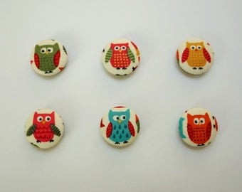 Pack of 4 fridge magnets. Handmade owl magnets, each one 23mm diameter