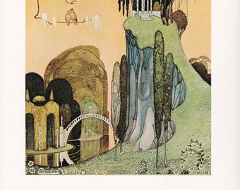 French folk tale fairy tale Felicia and the Pot of Pinks Kay Nielsen vintage art nouveau print illustration home decor 8.5x11.5 inches