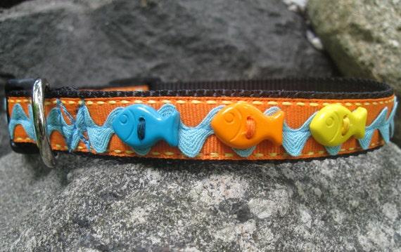 Colorful fish dog collar medium dog collar fun dog collar for Fish dog collar