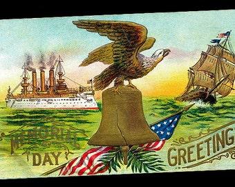 Patriotic Memorial Day Greetings with Eagle 1907 Postcard