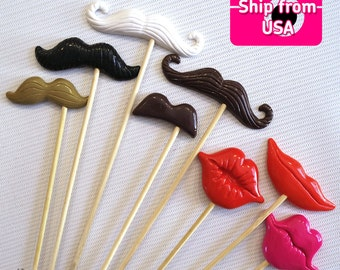 11Pc Photobooth Props, Polymer Clay Lips and Mustache Props, Photo Props, Wedding Photo Booth props, Birthday Photo Booth Props
