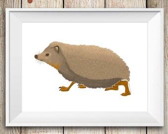 Woodland Hedgehog Wall Art Print, animal art, nursery decor art, kids art