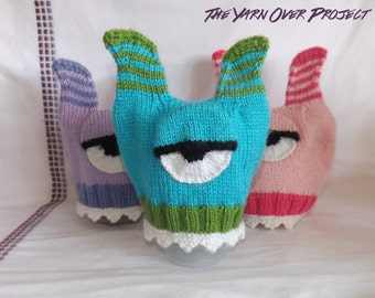 Knitted Monster Hat - Baby One-Eyed Monster Hat - Knit Monster Hat - Newborn Photo Prop