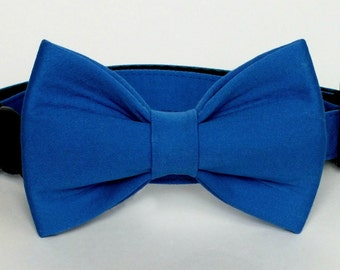 Royal Blue Sateen Dog bow tie, Cat bow tie