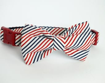 Patriotic Stripes, red, white and blue Dog Collar Bow Tie set, pet bow tie, collar bow tie, wedding bow tie