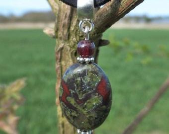 Bloodstone & Garnet Gemstone Pendant - Black Suede Style Thong Necklace Choker - Aries  Birthstone