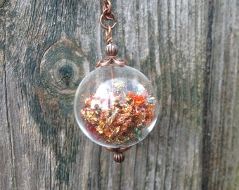 Harvest Moon Witch Ball Pendant on Copper Chain - Lughnasadh - Fall -Autumn - Magic - EnchantedEtsy