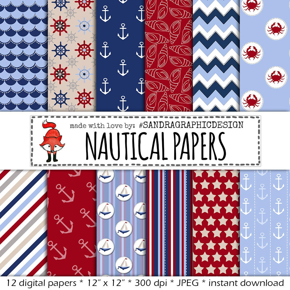 digital paper nautical papers in colors red blue