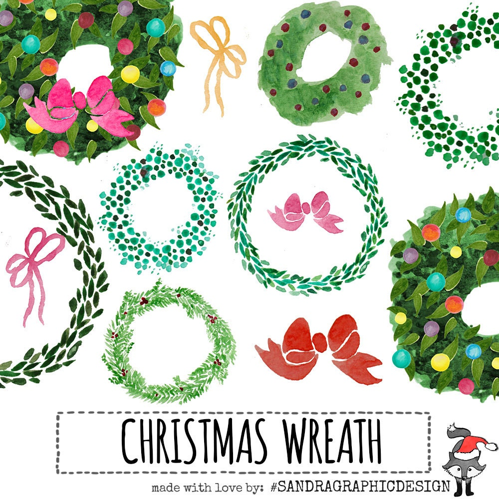 Christmas Clip Art CHRISTMAS WREATHS Hand Painted Watercolor Wreaths 7 300 Dpi PNG Files 993