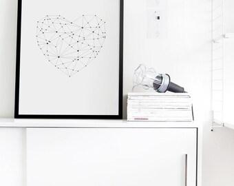 Heart, Love, Printable Polygon Art, Digital Download, Inspirational Print, digital art, Instant Download, Printable Art, home decor