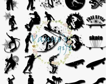 100 Skater Boy Skateboard Silhouette Digital Download Scrapbooking Clip Art c65