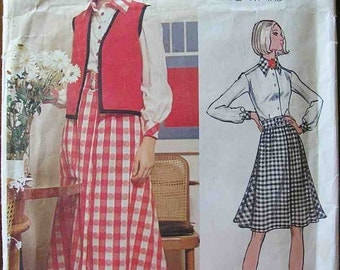 Vogue Americana 2703 Sewing pattern, maxi skirt vest dressmaking pattern, designer Chuck Howard, size 12, 70s seventies 1970s, vintage retro