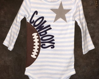 Personalized Star, Heart OR Bow Tie Dallas Cowboys  Team Football Onesie.