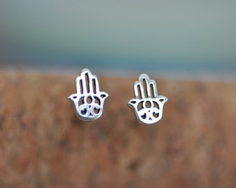 Tiny Sterling Silver Hamsa Hand Stud Earrings, Hamsa Palm, Hamsa Amulet, Protection Lucy Amulet 925