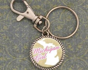 Michigan Girl Stuck On You Keychain