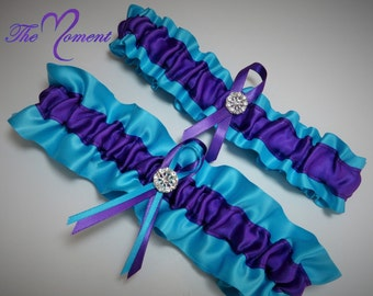 Turquoise and Purple Garter Set, Purple and Turquoise Garter Set, Ribbon Garter, Bridal Garter, Prom Garter, Purple Garter, Turquoise Garter