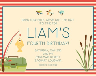 Fishing Birthday Party Invitations-FREE SHIPPING or DIY printable