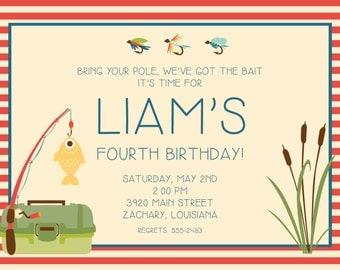Fishing Birthday Party Invitation | Boy Birthday | Fishing | Tackle Box | Fish Party | Stripes | Bait -FREE SHIPPING or DIY printable