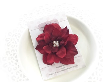 Red Flower Clip Christmas, Hair Accessories for Women, Red Hair Clip for Teens, Christmas Flower Clip, Red and White Hair Clip