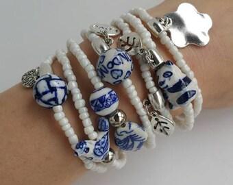 Blue and White Friendship Bracelets - Boho Chic Summer - porcelain beads arm candy
