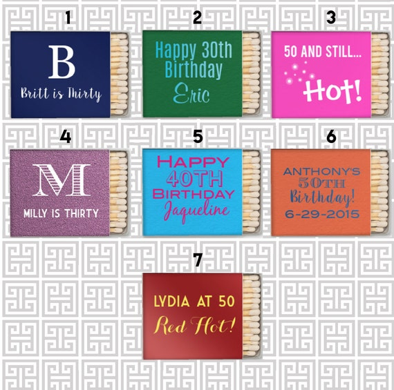 Birthday party matchbooks, party favor matches, birthday matches