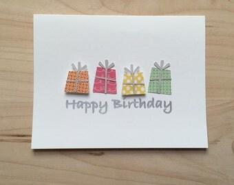 8 Happy Birthday Cards, Present Happy Birthday Card Set, Fun Colorful Birthday Cards