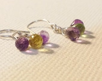Gems Amthyst Citrine Peridot Silver Earrings Dangle Earrings Multicolour Stones Silver Wire Earrings