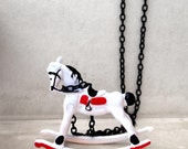 Retro Vintage Style Miniature Children's Rocking Horse Chair Toy, White, Black, Red, Long Necklace, Statement necklace, Perfect Gift Idea