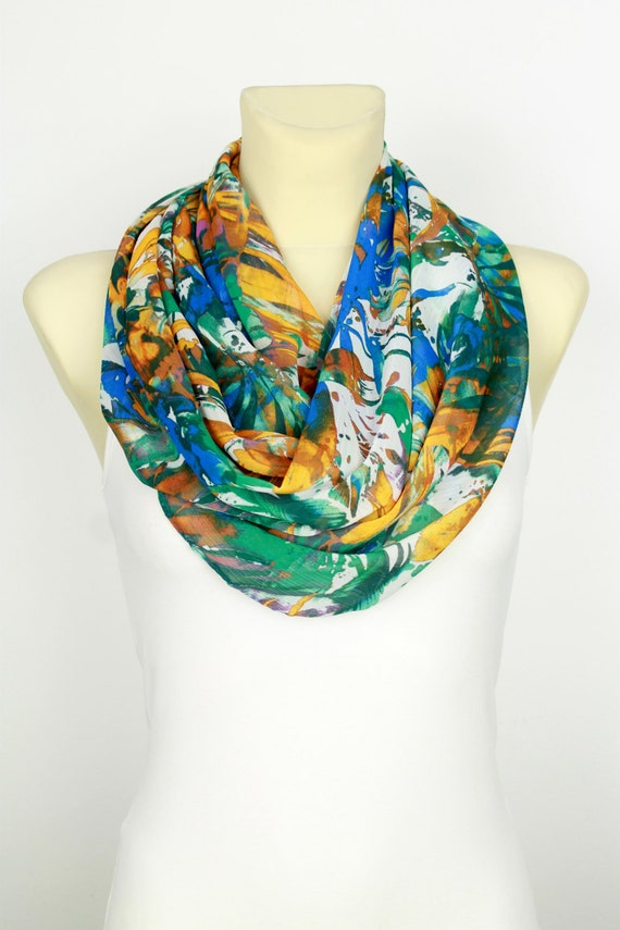 Spring Scarf Infinity Scarf Floral Infinity Scarf Boho Infinity Scarf Gift for Mom Spring Celebrations Mothers Day from Son Grandmother Gift