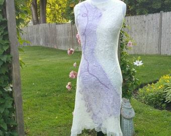 Nuno Felted Dress. Sleeveless lightweight Silk and Ultrafine Merino Dress. Wearable Art. Short Cream and Lilac Dress. Nuno Felted Clothing.