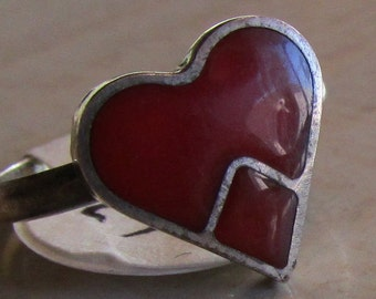 Sterling Silver Red Heart Ring Size 4 1/4