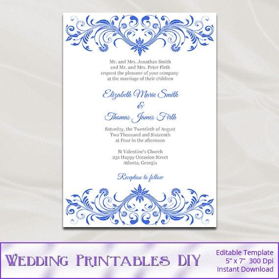 royal blue wedding invitation template diy printable birthday bridal shower party invites editable text instant download pdf word p147