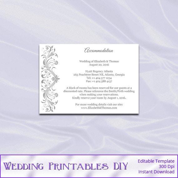 Silver Wedding Invitation Inserts Template Gray Accommodation