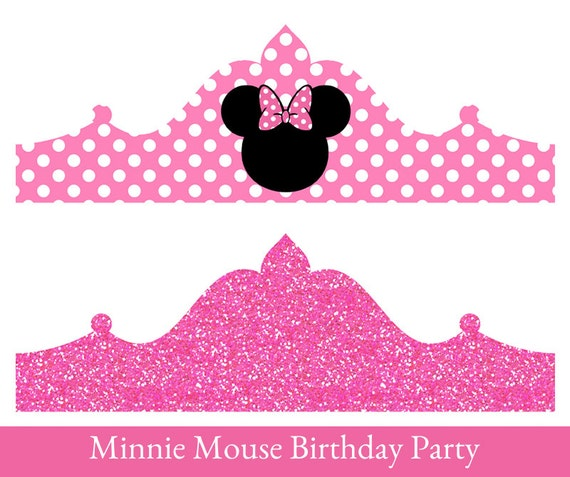 Minnie mouse birthday crown printable party crown minnie for Minnie mouse cake template free