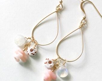 PAIA earrings - 14k gold fill puka shell earrings, moonstone earrings, coral earrings, beach jewelry, ocean jewelry, resort jewelry