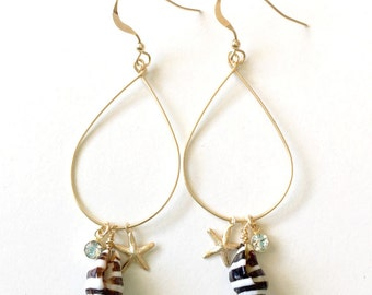 Gold fill starfish earrings with pyrene shell, dainty gold starfish shell earrings, ocean inspired jewelry, beach jewelry, PUNA CZ