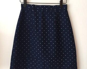 Vintage 1960s Style Polka Dot A-Line Mini Skirt XS