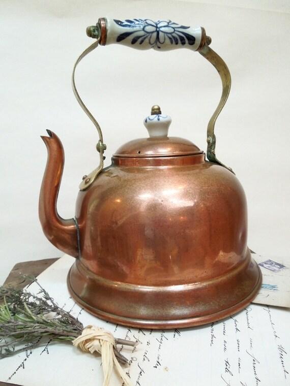 Copper water kettle warmer boiler porcelain french vintage for Copper water boiler