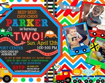 Planes Trains  Automobiles invitation, custom transportation invitation, choo choo turning 2 invites, unique transportation invite  INVAUT02
